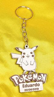 50 Chaveiros Lembrança Pokémon Mdf Branco Aniversário