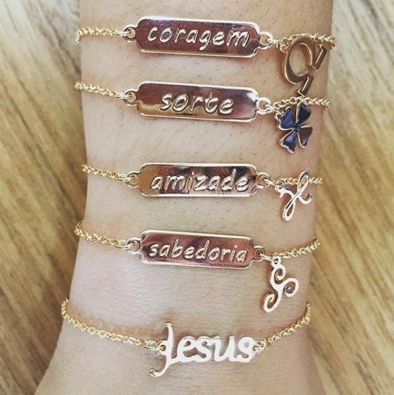Pulseira Rommanel Vários Significados $169 Cada Com Nf - Jesus Sabedoria Coragem Sorte Amizade Namastê Joia Original