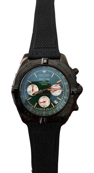 Reloj Breitling Cristal De Zafiro Negro Verde Caucho 563b