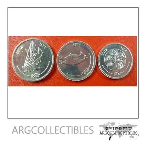 Maldivas Set De 3 Monedas Año 2012 Unc Sin Circular