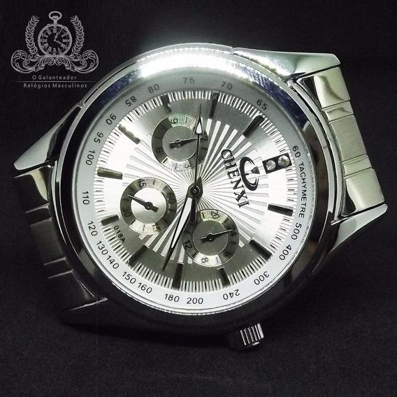 Relógio Masculino Chenxi Prata Clássico Original