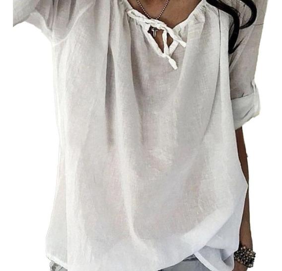 Camiseta Feminina Casual Com Decote Em V, Manga Curta, Laço