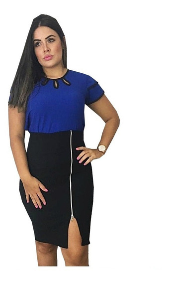 Conjunto Saia Lapis Ziper + Blusa Gota Moda Evangelica Diva