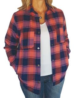 Camisa / Campera Leñadora Con Corderito De Invierno Mujer
