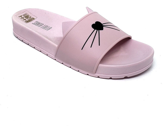 Santa Lolla Chinelo Slide Gato Em Borracha + Barato Pink