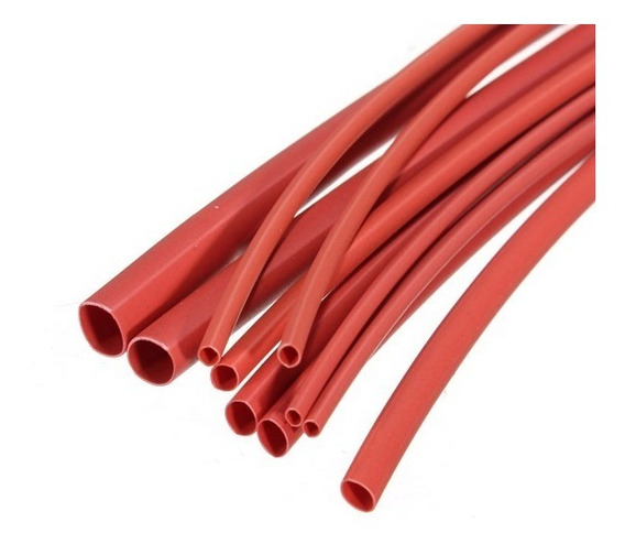 Espaguete Termo Retratil Vermelho 06 Diametros 01 Metro Cada