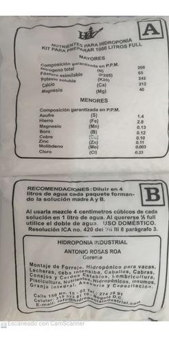 Kit De Nutrientes Para Hidroponia  Lechugas 1000 Litros