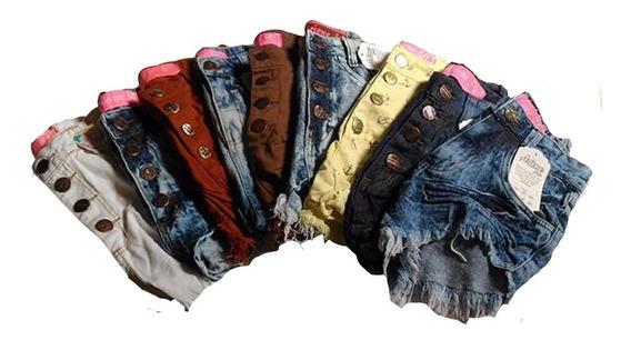 Kit 40 Shorts Jeans Femininos Cintura Alta Hot Pants Atacado