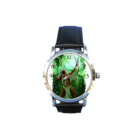 Relógio Unissex Oxóssi Orixá Espírita Espiritismo Couropreto