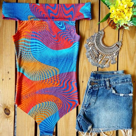 Body Ciganinha Estampado Suplex Moda Feminina Verão
