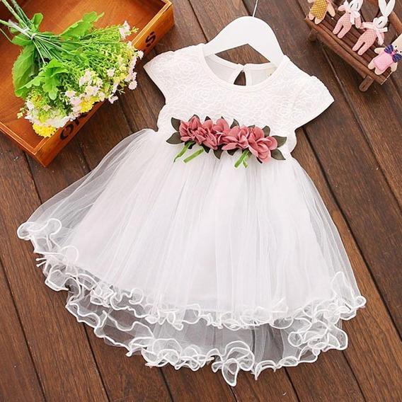 Hermoso Vestido De Bebe Niña Modelo Flores Fiesta #13