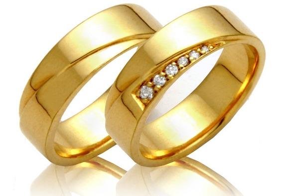 Alianças Ouro 18k 8 Gramas 6mm Brilhantes Casamento Noivado