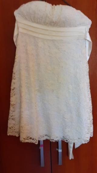 Vestido De Novia Color Manteca. Forrado Y Con Encaje. T.s