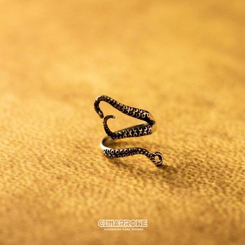 Imagen 1 de 3 de Kraken Pulpo Tentaculos En Plata Mexicana 925 Ajustable