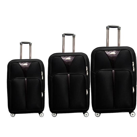 Kit Conjunto 3 Malas De Viagem 360° C Cadeado Preta Luxo Pmg