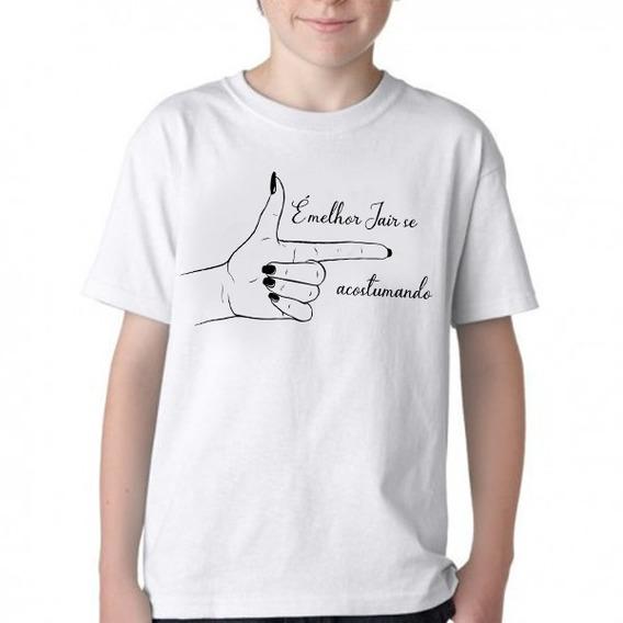 Camiseta Blusa Criança Infantil Bolsonaro Mão Feminina Mulhe