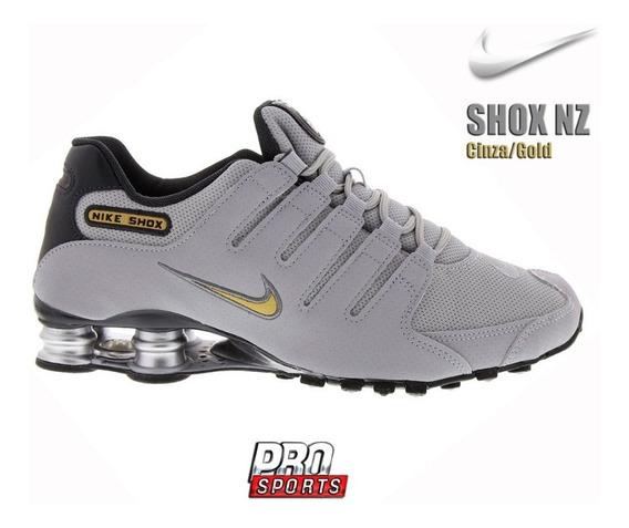 Nike Shox Nz Cinza Ouro - Original