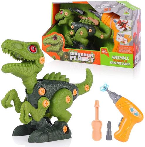 Imagen 1 de 6 de Juguete De Dinosaurio Niño Diy Con Taladro Electrico