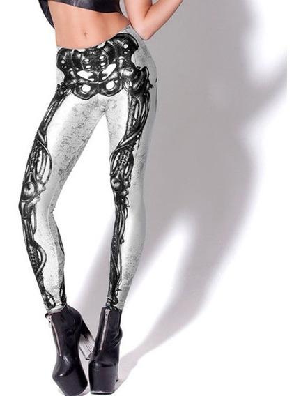 Leggings/calza Simil Blackmilk - Mechanical Bones White