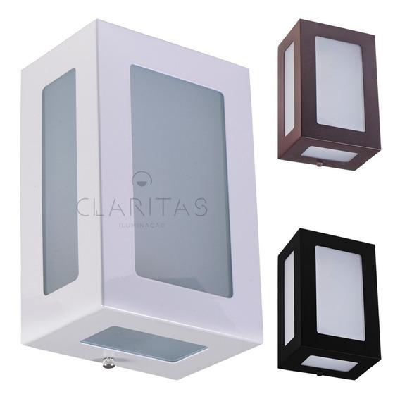 Arandela 5 Vidros Retangular Alumínio Muro Parede Externa