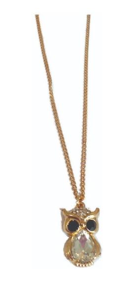 Collar Dije Búho Dorado Cristal Incrustado Precio Mayoreo