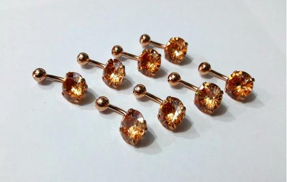 Piercing De Umbigo Ouro Rosa Pedra Cravada