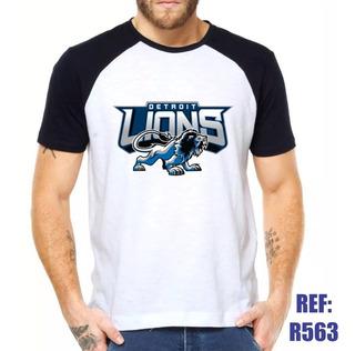 Camisa Raglan Detroit Lions Futebol No Nfl