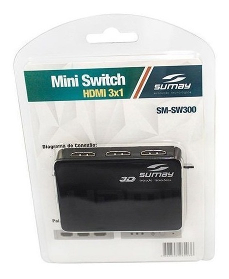 Promoção! Mini Switch Hdmi 3x1 Sumay