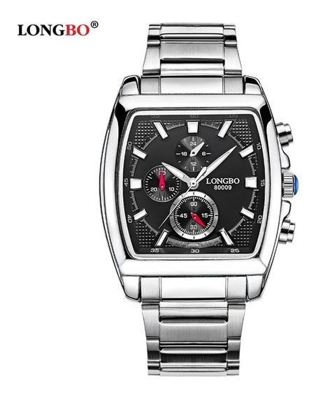 Relógio Masculino Longbo Quadrado Preto Inoxidável Mod 025