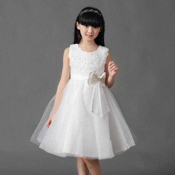 Vestido Infantil Festa Branco Batizado Formatura Dama