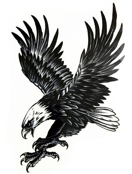 1 Tatuagem Temporária Divertida 20x14cm Águia Grande Nº 62