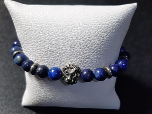 Hombres Azul Natural Rock Piedras Preciosas Perlas Pulsera