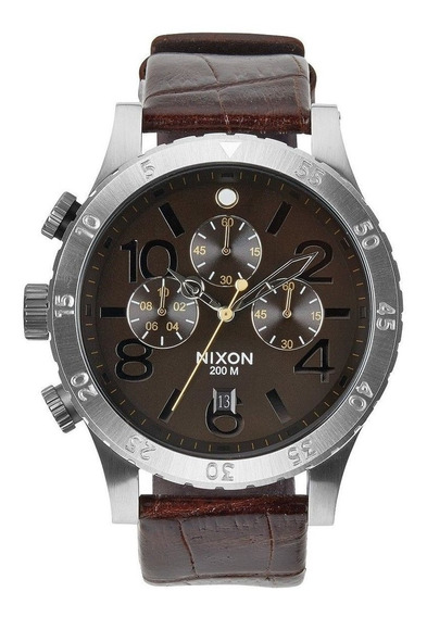 Reloj Nixon 48 20 Acero Piel Cocodrilo Café A363-1887