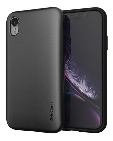 Forro Artscase Protección Doble iPhone Xr Negro / Negro