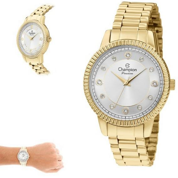 Relógio Feminino Champion Passion Dourado Original Cn29829m