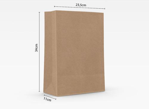 250 Sacos Kraft Delivery Liso - 23,5cm X 11cm X 34cm