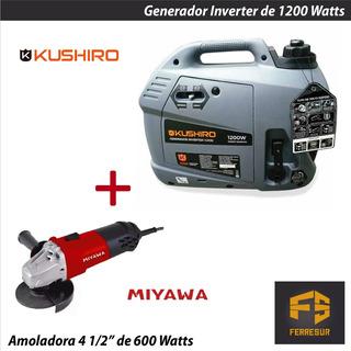 Generador Inverter Nafta Kushiro Gi12k + Amoladora Miyawa