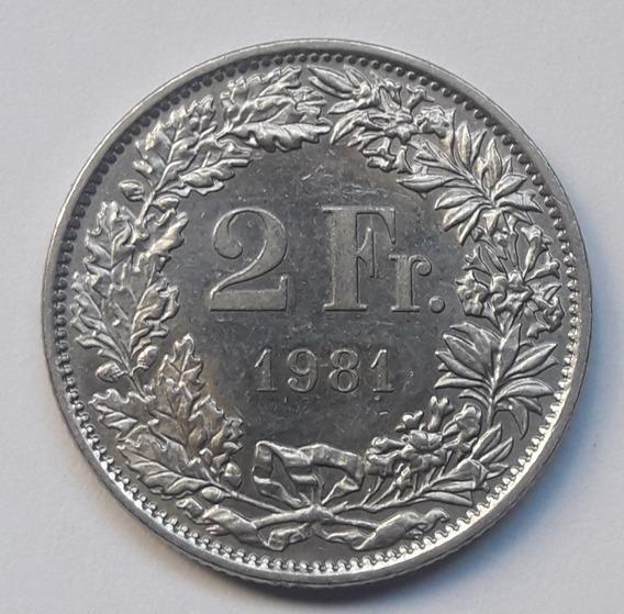 * Suiza. 2 Francos. 1981. Níquel. Excelente. Km# 21a.1