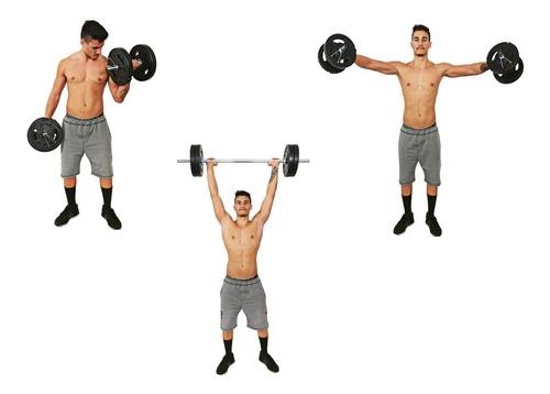 Kit Musculação Halter Anilhas E Barras