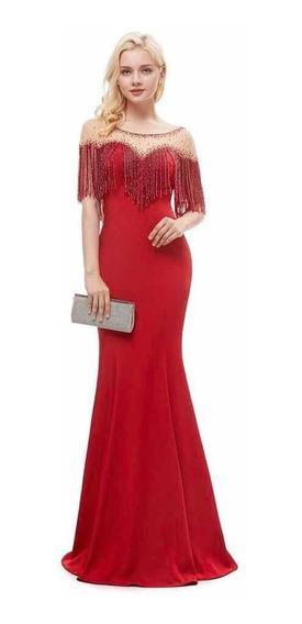 Vestido Mamá Novia Dama Graduación Elegante Party Rojo Wal