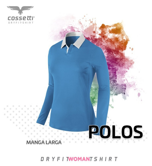 Playera Tipo Polo Cossetti Manga Larga Dry Fit Tallas Extras