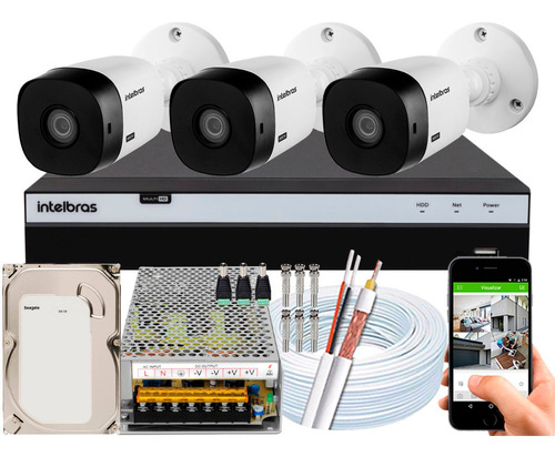 Kit Cftv Intelbras 3 Câmeras Segurança Full Hd 1220 3104 10a