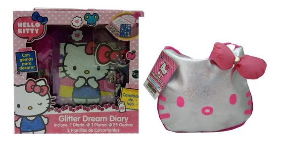 Set De Diario Con Bolsa Hello Kitty Correa Plata Con Rosa