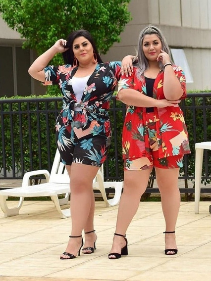 Conjunto Plus Size Cardigan Com Shorts Varias Estampas