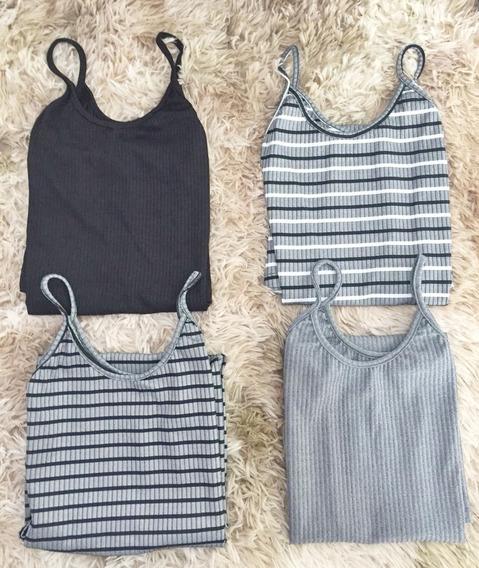 4 Vestidos Tumblr Tons De Cinza Listrado Modinha