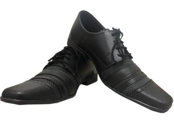 Sapato Social Masculino Liso Elegante + Meia Social Cinza