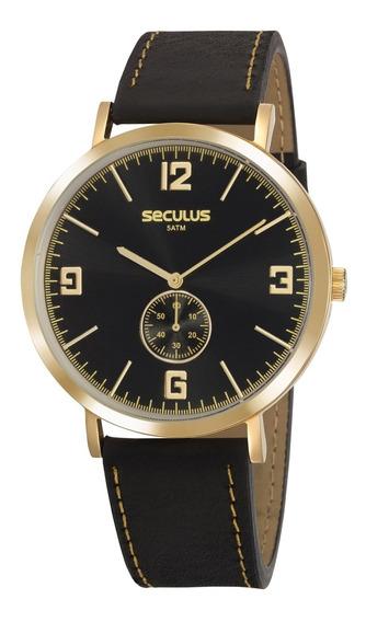 Relógio Seculus Masculino Dourado Couro Social 20763gpsvdc1