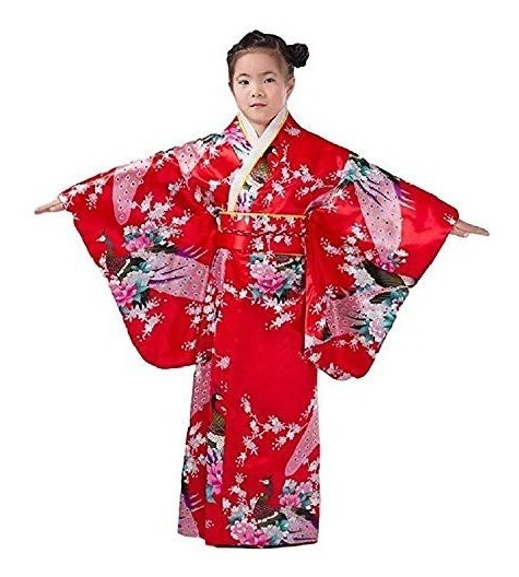 Traje Kimono Vestido Tradicional Japonés Para Niños Niñas