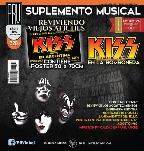 Prv-suple Musical Nº5 - Afiche Kiss´83 (bombonera) + Cd