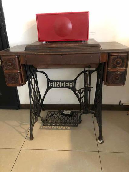 Máquina Singer Antigua Original Con Mueble Y Pie